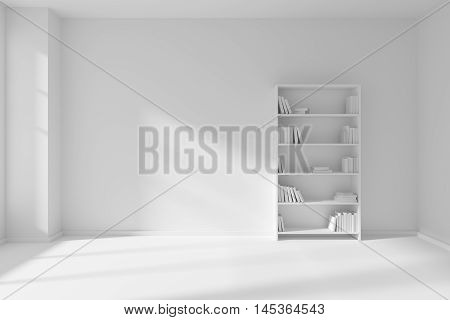 Minimalist interior of empty white room with white floor and wall illuminated by sunlight from the window and the bookcase with many white books about wall 3D illustration