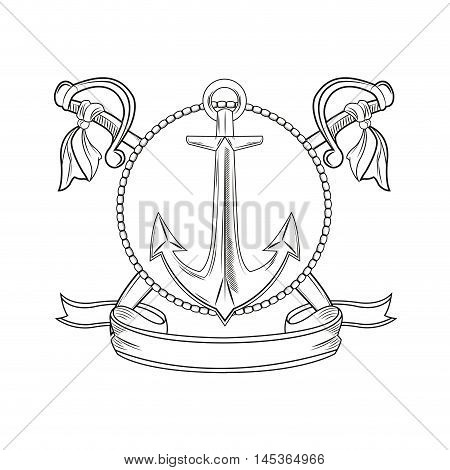 anchor sword ribbon seal stamp cartoon pirate tattoo marine nautical icon. Black white isolated design. Vector illustration