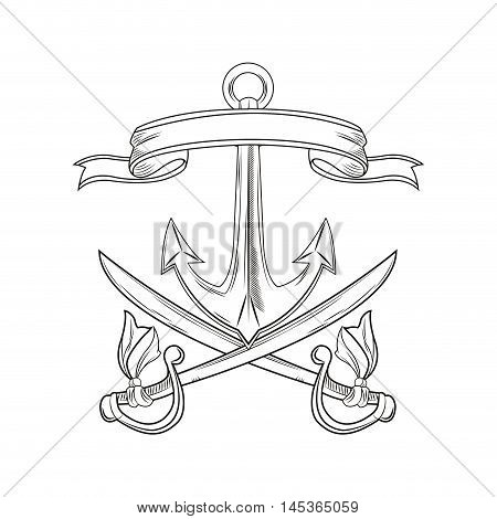 anchor sword ribbon cartoon pirate tattoo marine nautical icon. Black white isolated design. Vector illustration