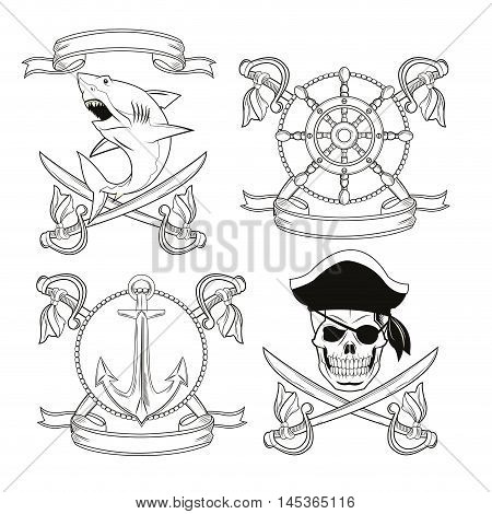 skull sword shark anchor rudder ribbon cartoon pirate tattoo marine nautical icon. Black white isolated design. Vector illustration