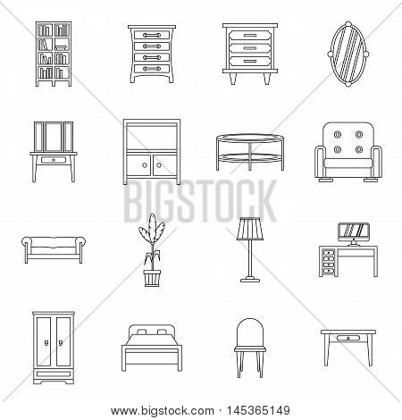 Furniture icons set in outline style. Interior decorations set collection vector illustration