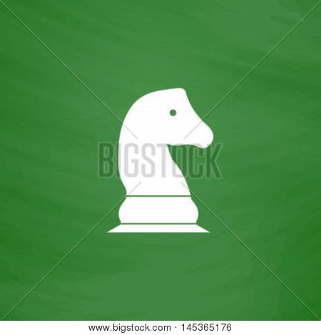 Chess knight Simple line vector button. Imitation draw with white chalk on blackboard. Flat Pictogram and School board background. Outine illustration icon