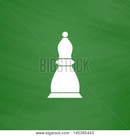 Chess bishop Simple line vector button. Imitation draw with white chalk on blackboard. Flat Pictogram and School board background. Outine illustration icon