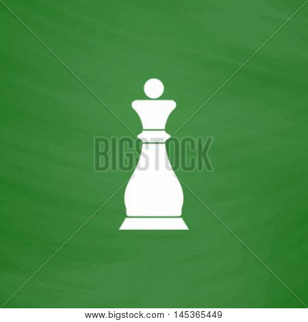 Chess queen Simple line vector button. Imitation draw with white chalk on blackboard. Flat Pictogram and School board background. Outine illustration icon