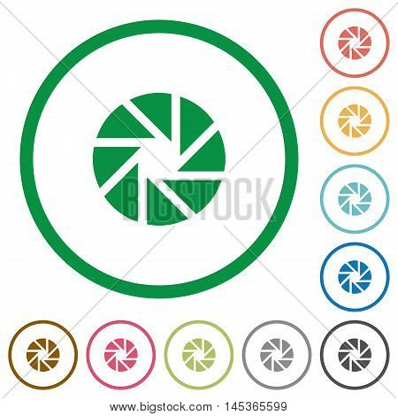 Set of aperture color round outlined flat icons on white background