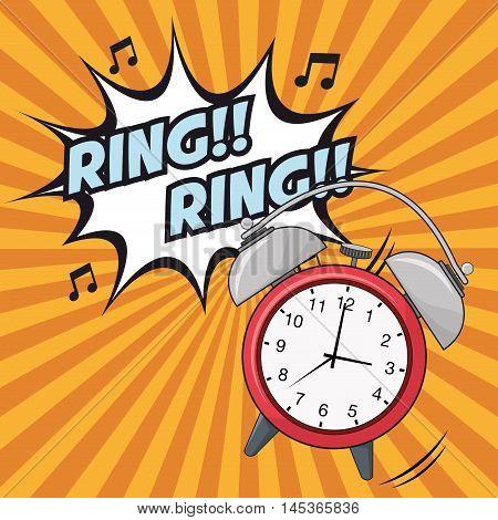 ring explosion clock time cartoon pop art comic retro communication icon. Colorful striped design. Vector illustration