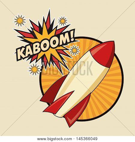 rocket spaceship kaboom boom explosion cartoon pop art comic retro communication icon. Colorful striped circle design. Vector illustration