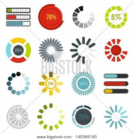Download progress icons set in flat style. Load indicators set collection vector illustration