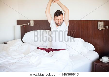 Man In Pijamas Waking Up