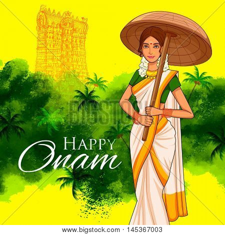 illustration of South Indian Keralite woman with tradition palm leaf umbrella, Olakkuda celebrating Onam