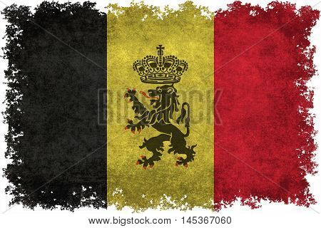National flag of Belgium with government Lion ensign distressed vintage textures and textures