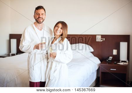 Celebrating Their Honeymoon In A Hotel