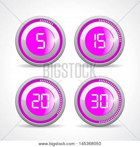 Timer 5 15 20 30 minutes vector illustration isolated on white background