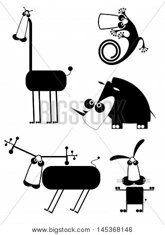Funny animal art silhouettes. Comic cartoon funny animals set for design