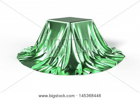 Box covered with green metallic fabric. Isolated on white background. Surprise award prize concept. Showroom stand. Reveal a hidden object. Raise the curtain. Photo realistic 3d illustration