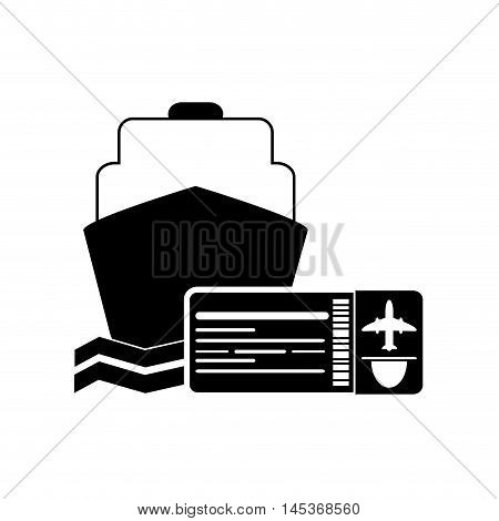 flat design cruise ship and boarding pass icon vector illustration