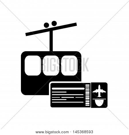 flat design funicular and boarding pass icon vector illustration