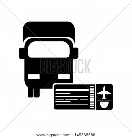 flat design truck or van with boarding pass icon vector illustration