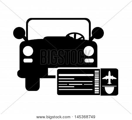 flat design car and boarding pass icon vector illustration