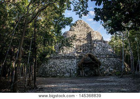 Coba Maya Ruins in Mexico Yucatan inside the jungle