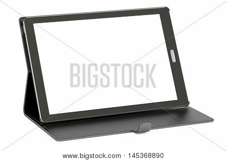 tablet computer with blank screen and case 3D rendering isolated on white background
