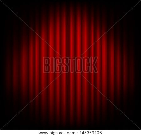 Red curtain on theater or cinema stags. Darkening at the edges