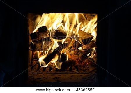 Red fire on the hearth with burning firewood
