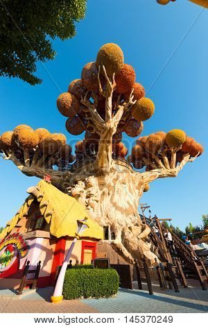 CASTELNUOVO DEL GARDA VERONA ITALY - AUGUST 28 2016: The famous theme park of Gardaland in Castelnuovo del Garda with the tree house of Prezzemolo (Parsley) Verona Italy
