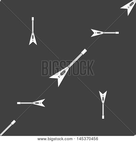 Guitar Icon Sign. Seamless Pattern On A Gray Background. Vector