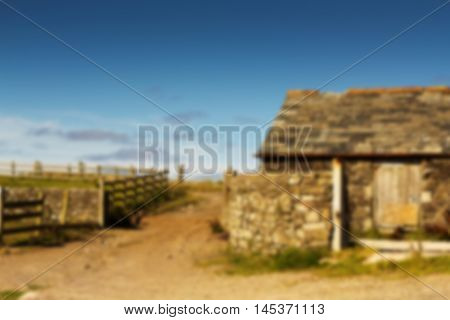 Traditional Old Farmhouse In The Cornish Countryside Out Of Focus.