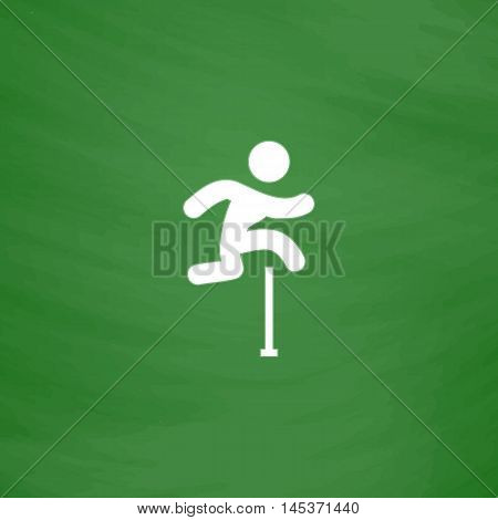 Steeplechase Simple line vector button. Imitation draw with white chalk on blackboard. Flat Pictogram and School board background. Outine illustration icon
