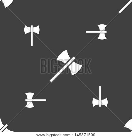 Battle Axe Icon Sign. Seamless Pattern On A Gray Background. Vector
