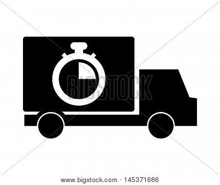 flat design truck or van and analog chronometer icon vector illustration