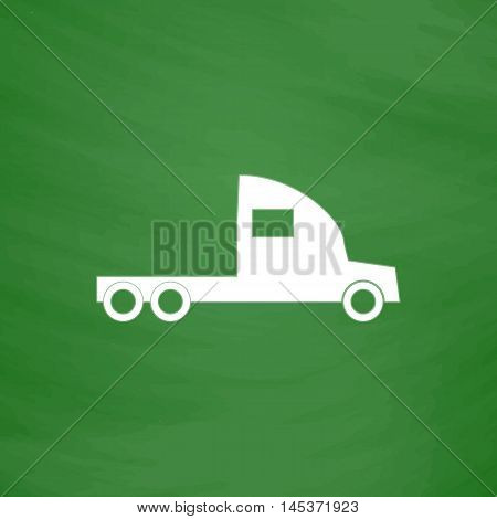 cargo truck Simple line vector button. Imitation draw with white chalk on blackboard. Flat Pictogram and School board background. Outine illustration icon