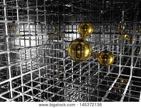 molecule in futuristic space - 3d rendering