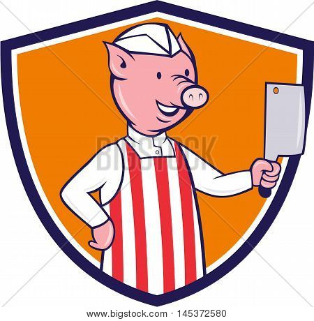Illustration of a butcher pig holding meat cleaver viewed from front set inside shield crest on isolated background done in cartoon style.