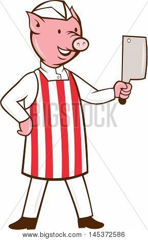 Illustration of a butcher pig standing holding meat cleaver and one hand on hips viewed from front set on isolated white background done in cartoon style.