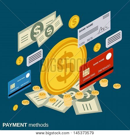 Payment methods, money transfer, financial transaction, banking flat isometric vector concept