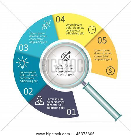 Circular diagram in form of a magnifier. Chart with 5 parts. Vector templates.