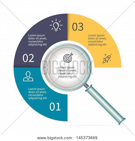 Circular diagram in form of a magnifier. Chart with 3 parts. Vector templates.