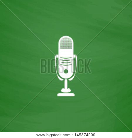 music microphone Simple line vector button. Imitation draw with white chalk on blackboard. Flat Pictogram and School board background. Outine illustration icon