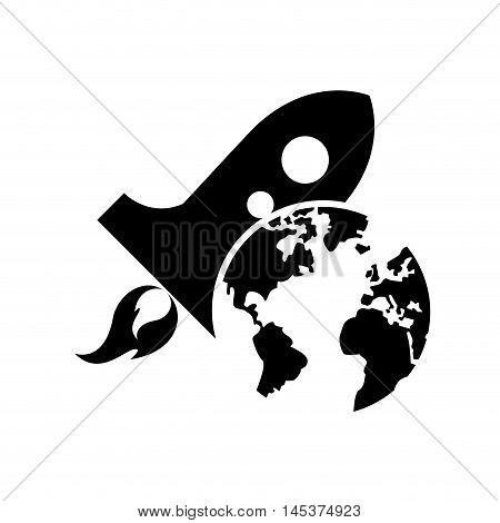 flat design earth globe and rocket icon vector illustration