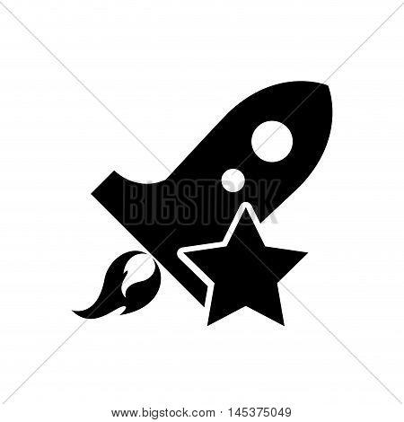 flat design rocket and star icon vector illustration