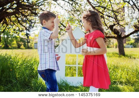 children quarrel in the park. The concept of lifestyle and childhood