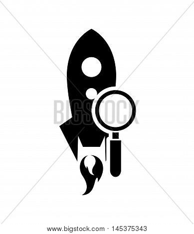 flat design rocket and magnifying glass icon vector illustration
