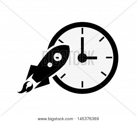 flat design clock and rocket icon vector illustration