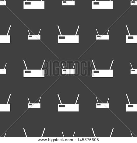 Wi-fi Icon Sign. Seamless Pattern On A Gray Background. Vector