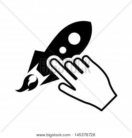 flat design rocket and hand pointer icon vector illustration