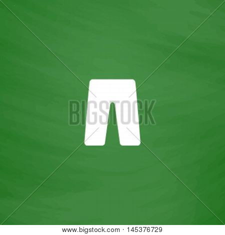 shorts Simple line vector button. Imitation draw with white chalk on blackboard. Flat Pictogram and School board background. Outine illustration icon