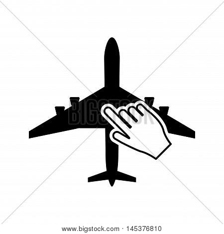 flat design airplane and hand pointer icon vector illustration